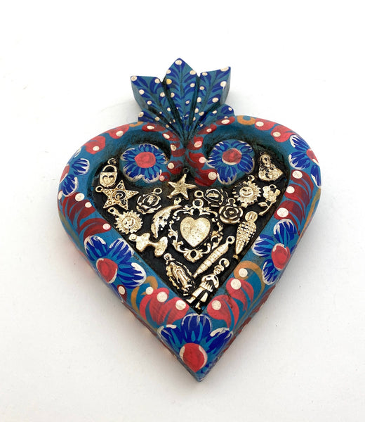 Painted Framed Heart w/Milagros