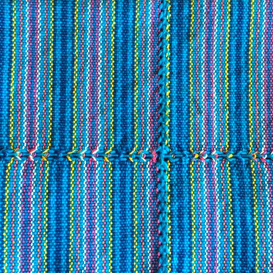 Handwoven cotton napkin from Patzcuaro-turquoise stripes