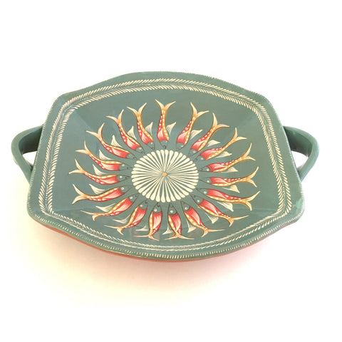 "Handpainted ""Papalote"" Platter with handles"