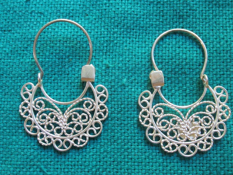 Silver Filigree Earrings- Small