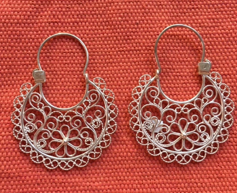 Silver Filigree Earrings - Large
