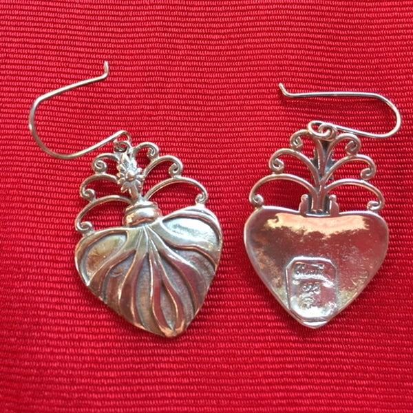 "Silver Earrings- ""Corazon Sagrado"""