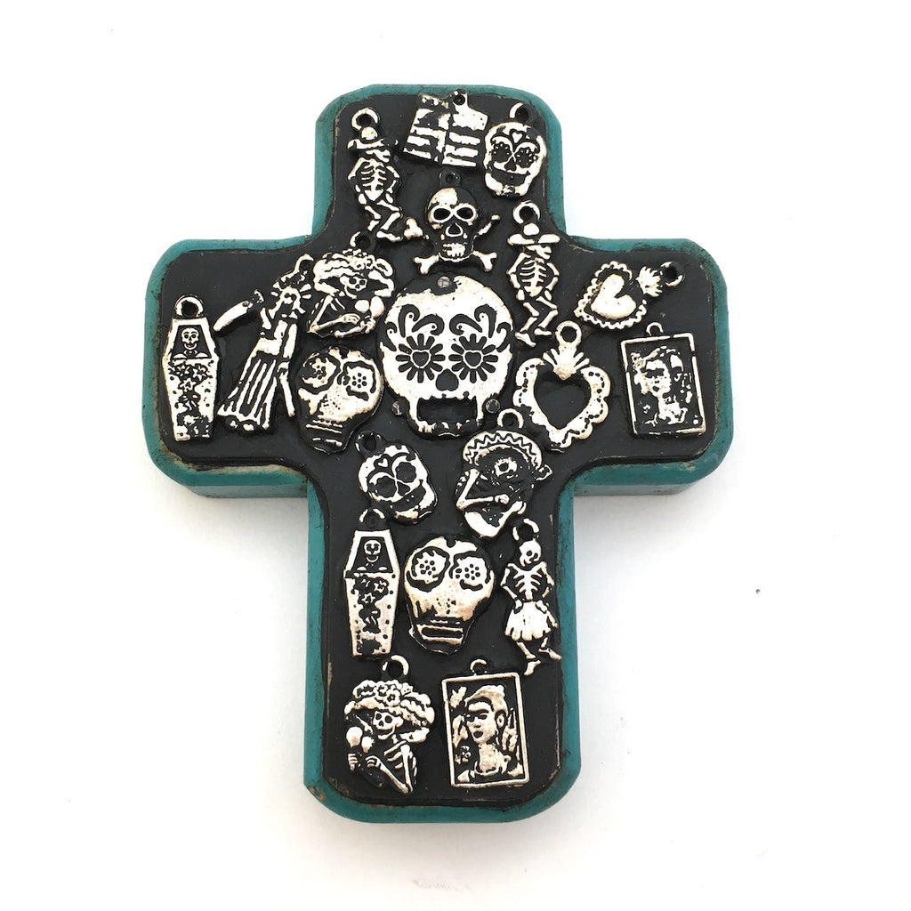 Wood Cross with Catrina Milagros