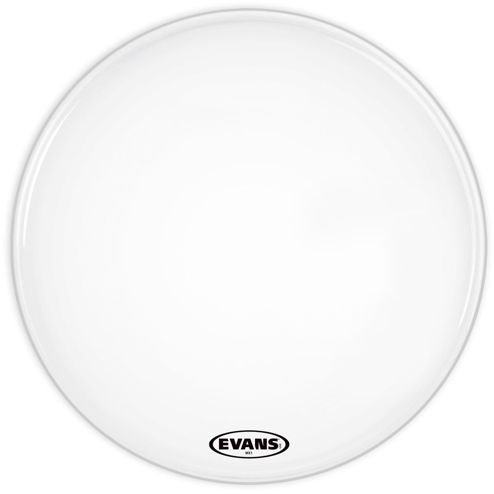 "Evans 22"" MX1 White Bass Head Single Ply"