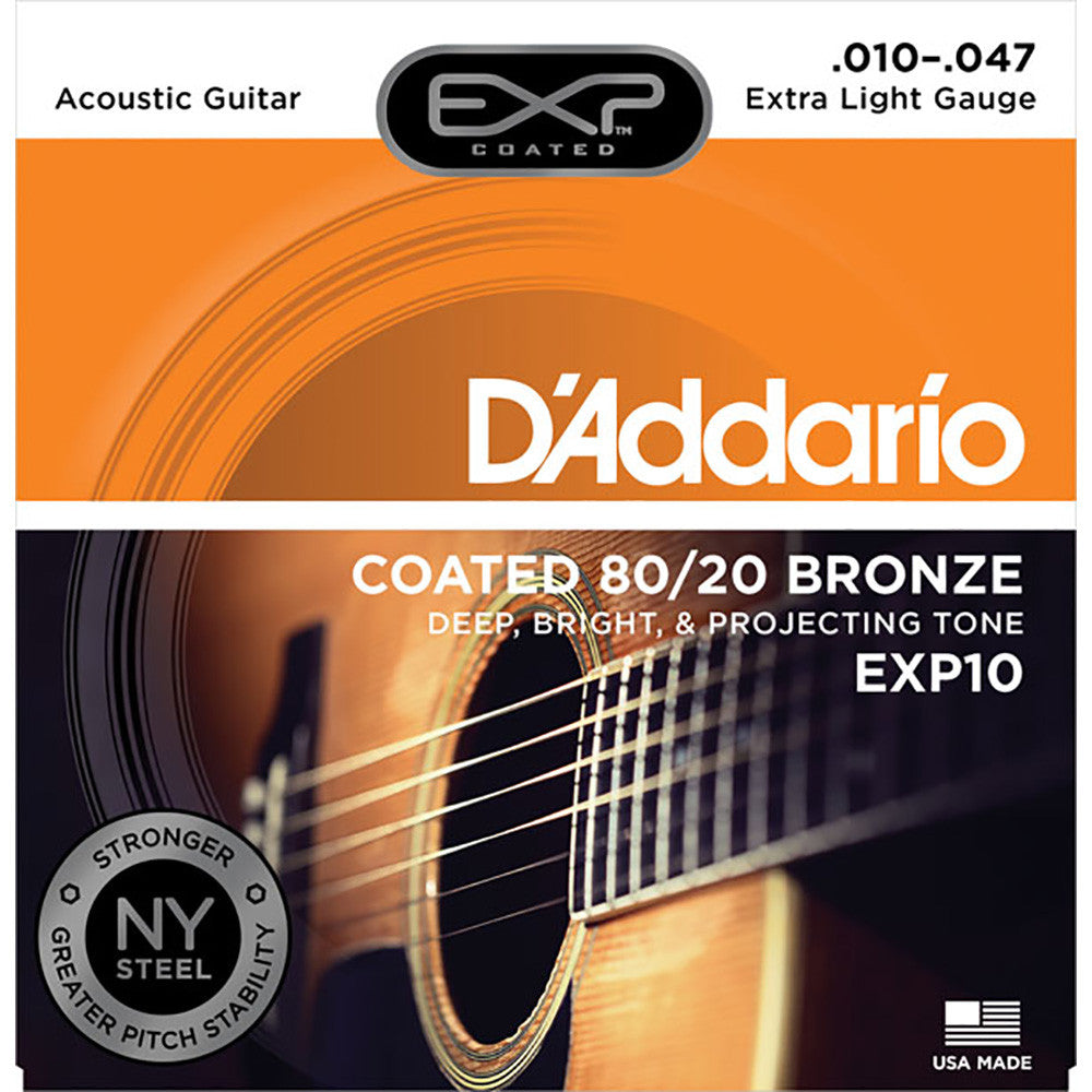 Daddario 10-47 Extra Light Coated 80/20 Bronze Acoustic Strings - Image: 1