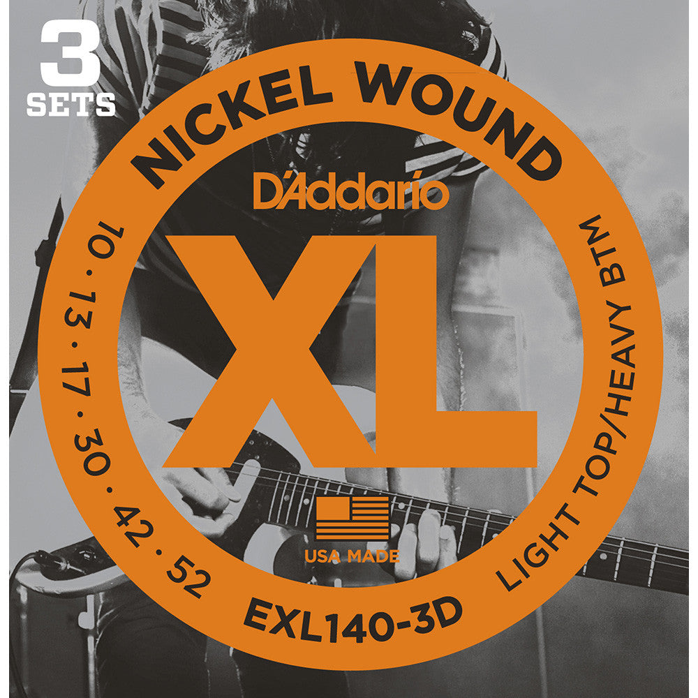 Daddario 10-52 Light Top Heavy Bottom Nickel Wound Electric Strings - 3-Pack