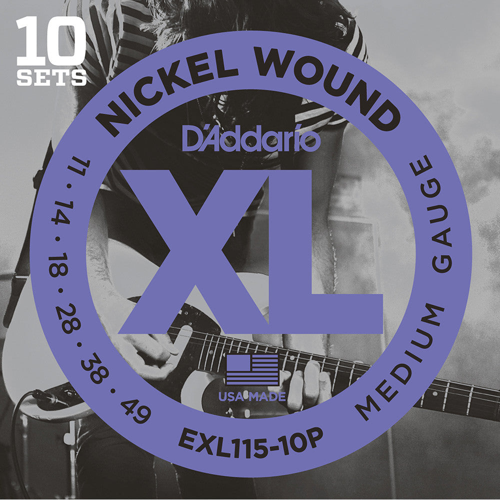 Daddario 10-Pack Exl115 Nickel Wound, Medium/Blues-Jazz Rock, 11-49