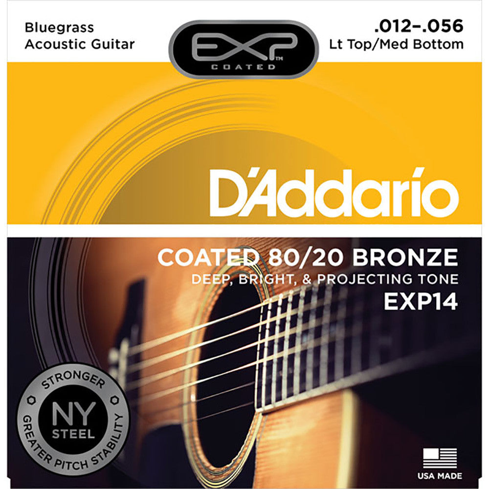 Daddario 12-56 Light Top Medium Bottom Bluegrass Coated 80/20 Bronze Acoustic Set