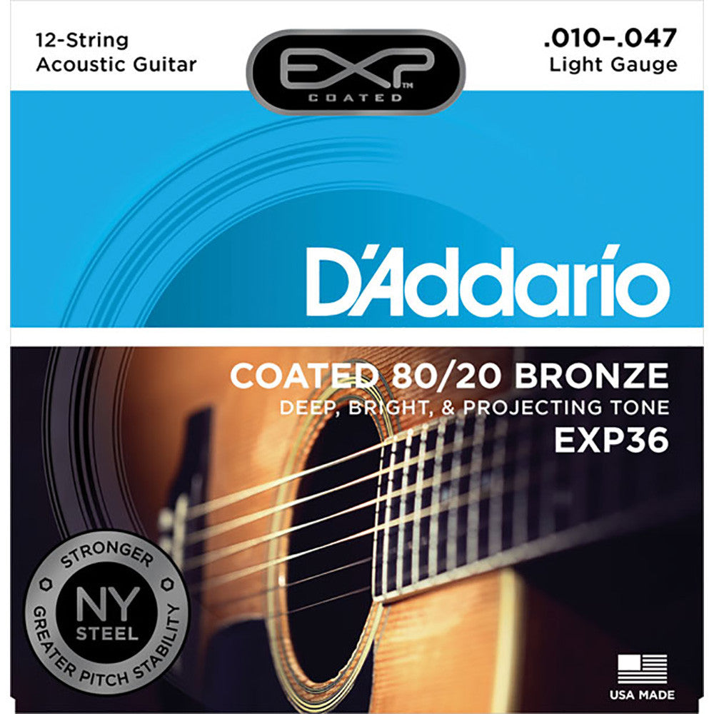 Daddario 12String Coated 80/20 Bronze Light Acoustic