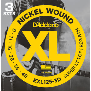 Daddario 9-46 Super Light Top Regular Bottom Nickel Wound Electric Strings - 3-Pack