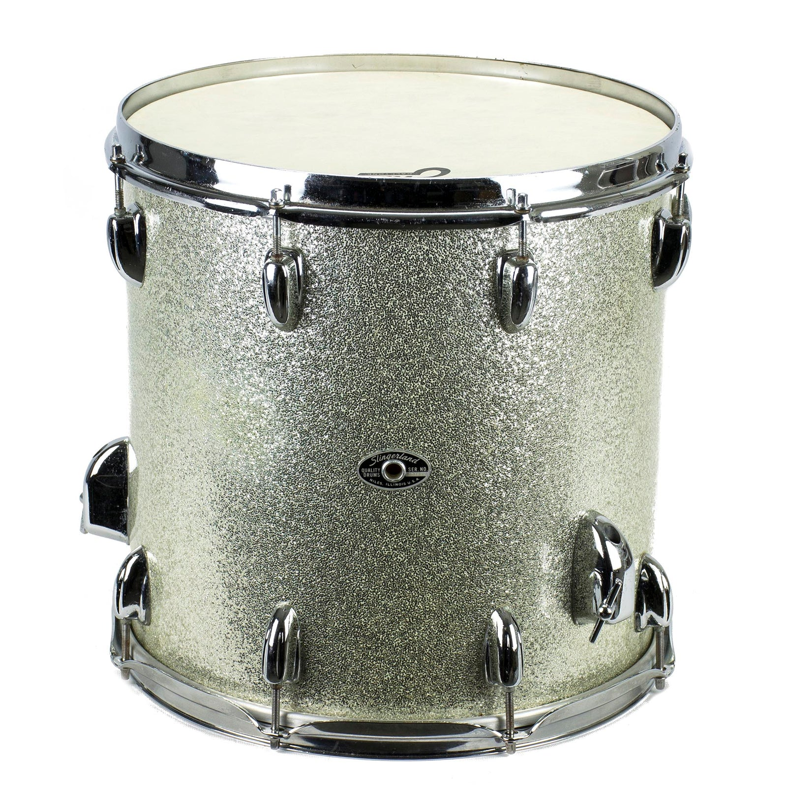 Slingerland 14x14 Silver Sparkle Early 70'S Floor Tom With Bag - Used