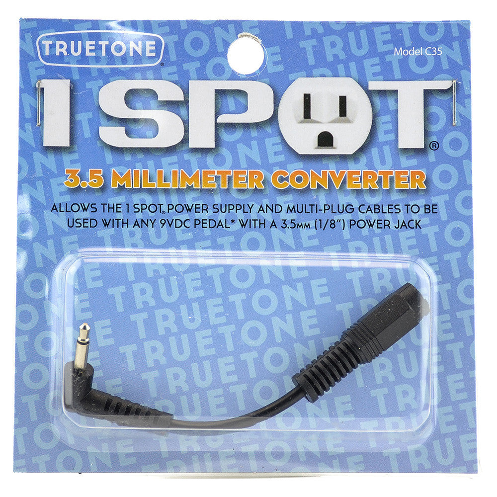 "Truetone C35 3.5 mm 1//8/"" Converter Cable for 1Spot /& Other Pedal Power Supplies"