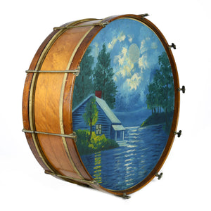 "Brandless 1920's 26"" Painted Scene Bass Drum - Used"