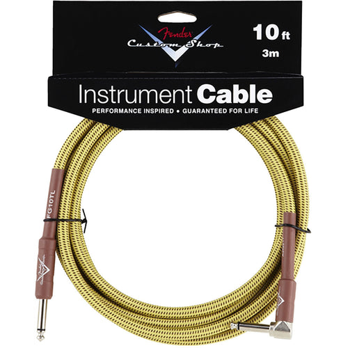 Fender Custom Shop Performance Series Cable, 10', Angled, Tweed