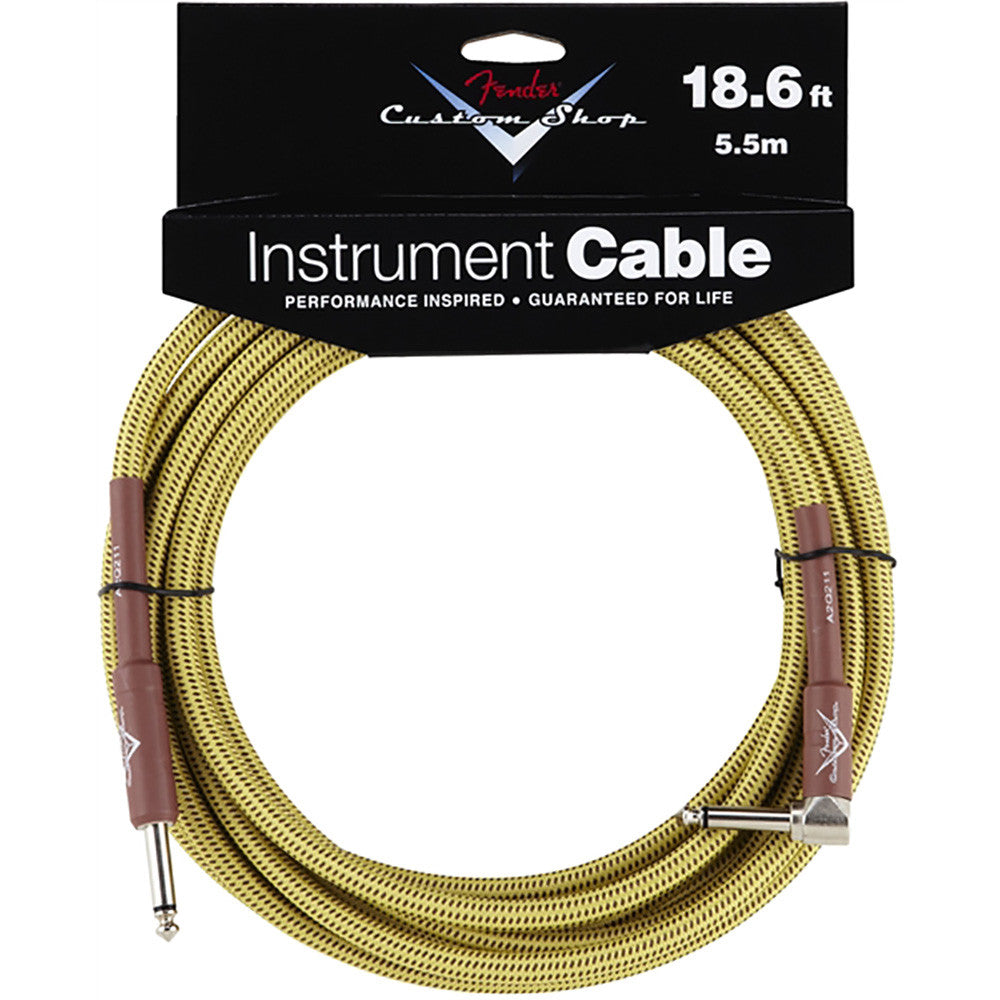 Fender Custom Shop Performance Series Cable - 18.6' - Angled - Tweed