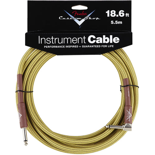 Fender Custom Shop Performance Series Cable, 18.6', Angled, Tweed