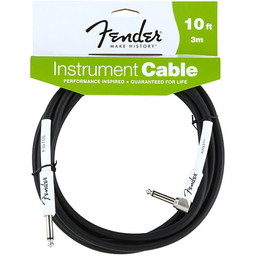 Fender Performance Series Instrument Cable, 10', Angled, Black