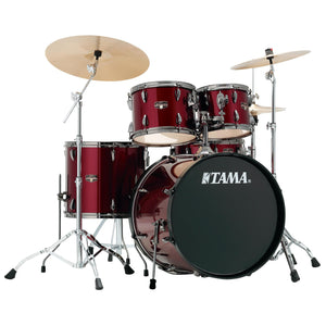 Tama 5 Piece Imperial Star Kit With Meinl HCS Cymbals - Vintage Red With Black