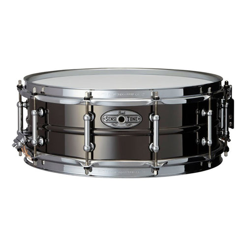 "Pearl 6.5X14"" Sensitone Snare, Beaded Brass, Black Nickel Plated"