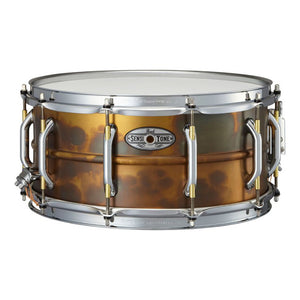 "Pearl 6.5x14"" Sensitone Snare - Premium Beaded Brass - Patina Finish"
