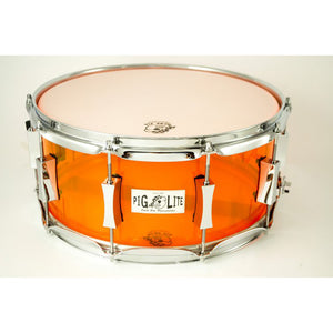 "Pork Pie 6.5x14"" Pig Lite Acrylic Snare - Neon Orange - Chrome Hardware"