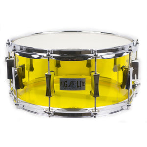 "Pork Pie 6.5x14"" Pig Lite Acrylic Snare - Yellow - Chrome Hardware"