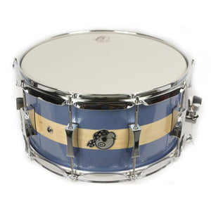 "Pork Pie 7x14"" Maple Brass Snare - Porcaro Blue Stripes Gloss"