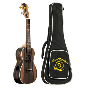 Amati's Snail Ukulele - Ebony With Bag