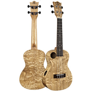 Amati's Snail Ukulele - Quilted Ash Concert With Bag