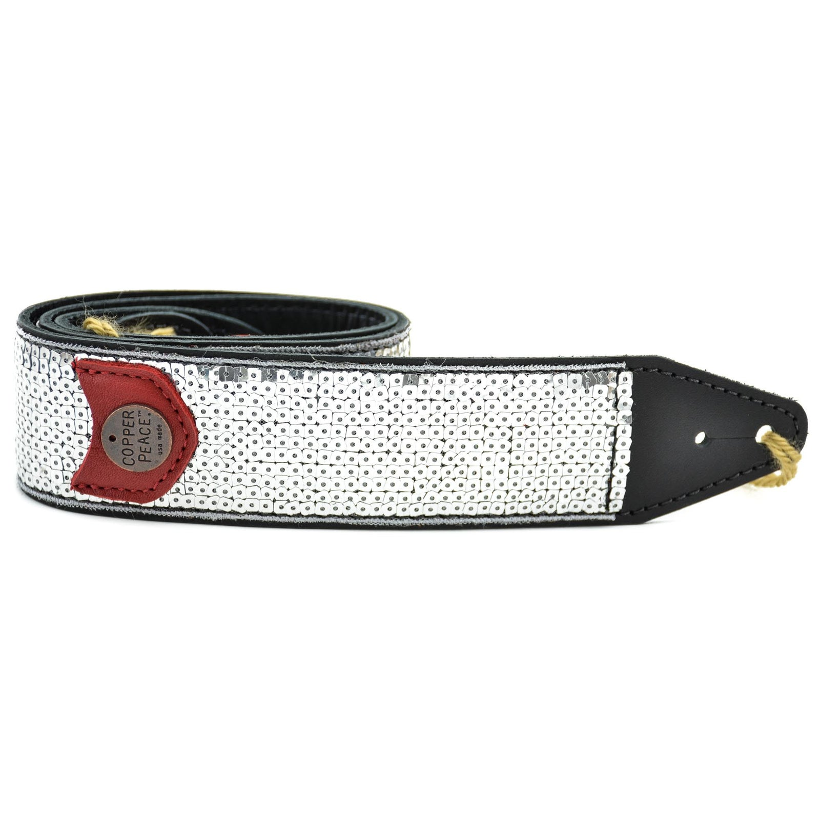 Copperpeace Glovely Silver Sequined Guitar Strap - Image: 1
