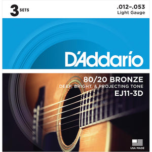 Daddario EJ11 80/20 Bronze Acoustic Guitar Strings - Light - 12-53 - 3 Sets