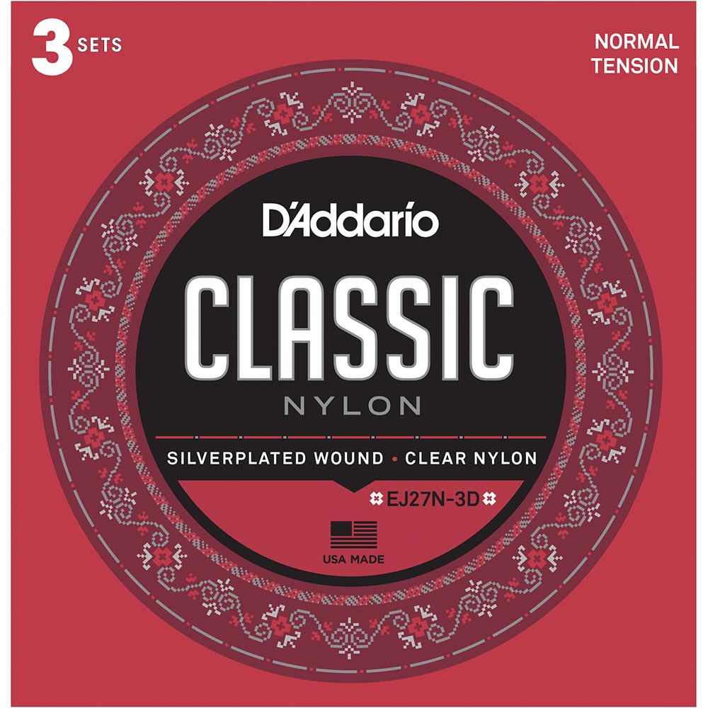 Daddario EJ27N Student Nylon Classical Guitar Strings - Normal Tension - 3 Sets