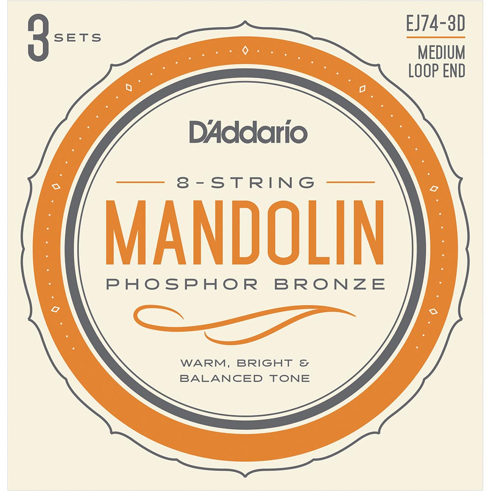 Daddario EJ74 Mandolin Strings - Phosphor Bronze - Medium - 11-40 - 3 Sets