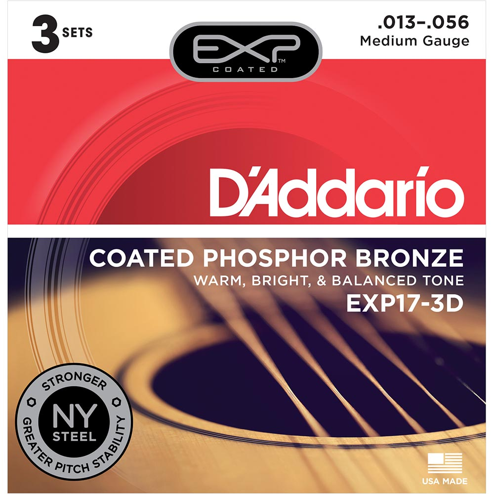 Daddario EXP17 Coated Phosphor Acoustic Guitar Strings - Medium - 13-56 - 3 Sets