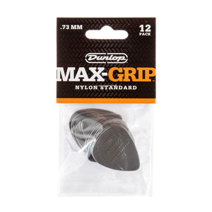 Dunlop .73 Gray Nylon Max Grip Standard Picks 12 Pack