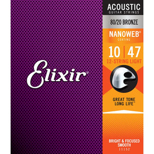 Elixir 12-String Light 80/20 Bronze Nanoweb Acoustic