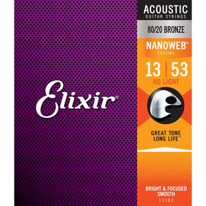Elixir 13-53 HD Light 80/20 Bronze Nanoweb Coated
