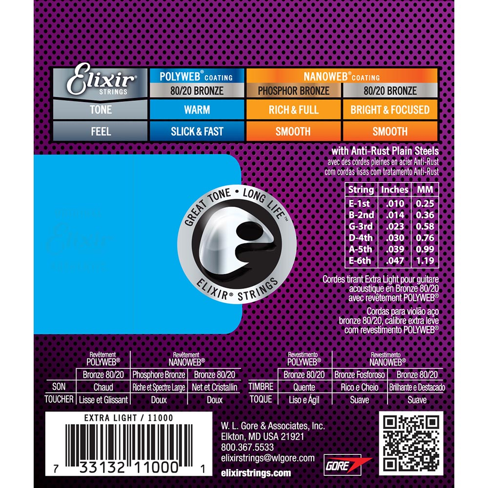 Elixir X-Light 10-47 Polyweb 80/20 Bronze