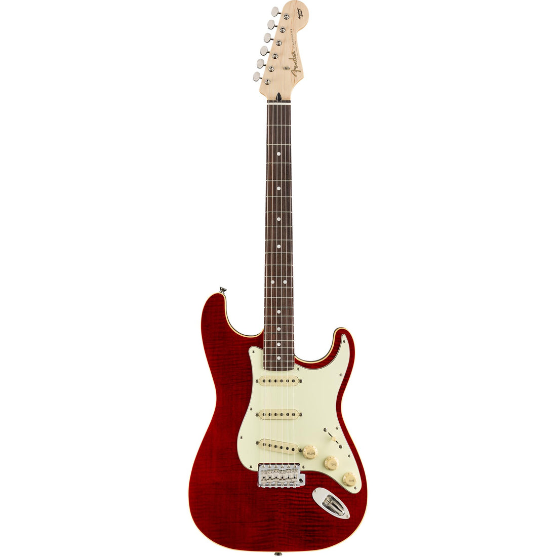 Fender Aerodyne Classic Stratocaster Flame Maple Top Rosewood, Crimson Red Transparent