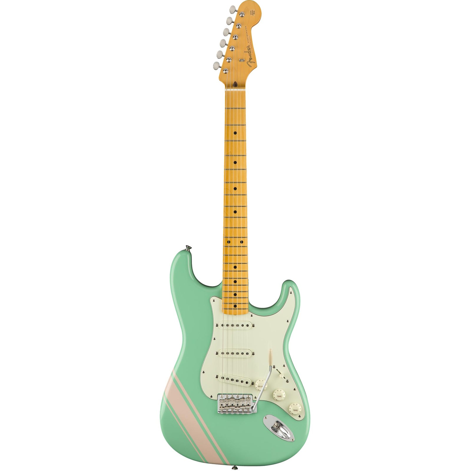 Fender FSR Traditional 50S Strat - Maple - Surf Green With Shell Pink Stripes