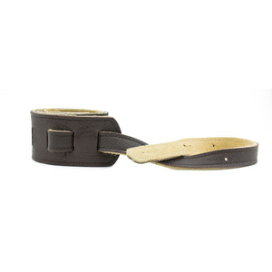 "Franklin Strap 2.5"" Embossed Suede/ Glove Leather End Tabs - Chocolate/Chocolate"