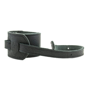 "Franklin Strap 3"" Glove Leather/Tooled Leather End Tabs Strap - Black/Black"