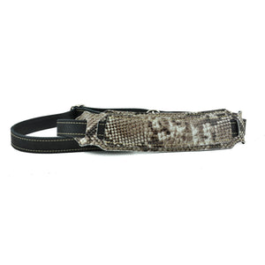 Franklin Strap Snakeskin Ball Glove Leather Vintage Strap With Natural Stitching - Black