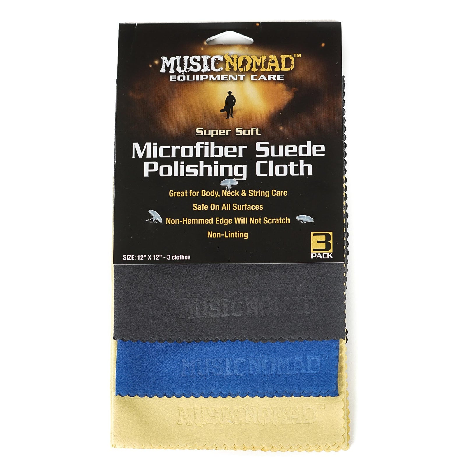 Music Nomad Super Soft Edgeless Microfiber Suede Polishing Cloths - 3 pack