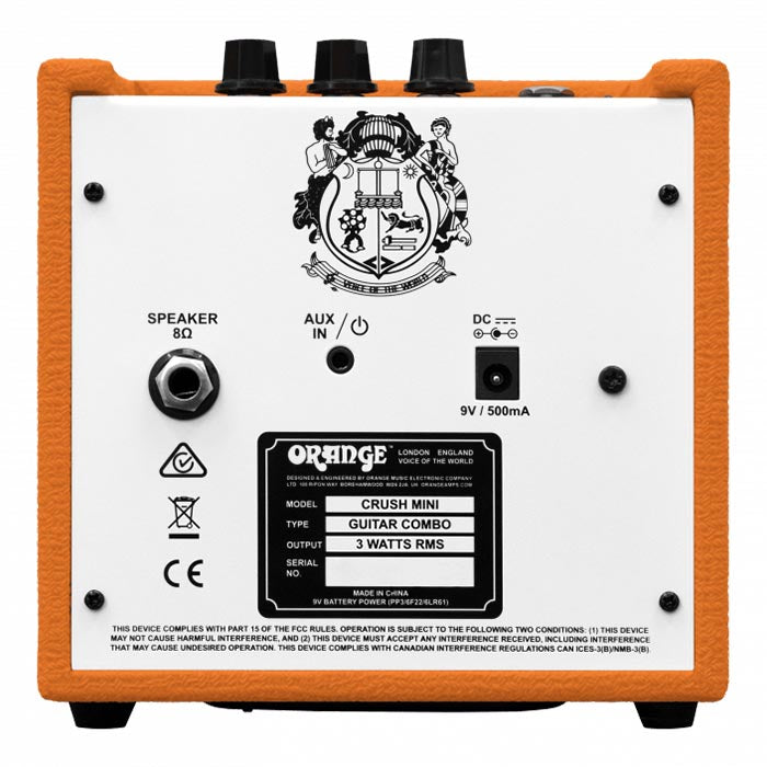 Orange Crush Mini 3 Watt Combo Amp With Tuner - HP Out - Speaker Out - Aux In