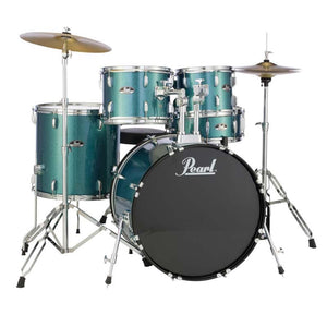 Pearl 5 Piece Roadshow Set With Cymbals And Hardware - Aqua Blue Glitter