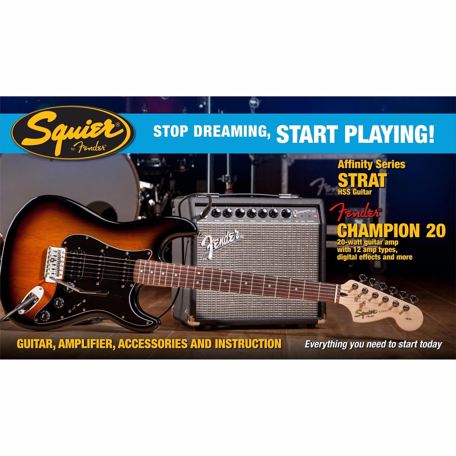 Squier Affinity Strat HSS With Fender Champion