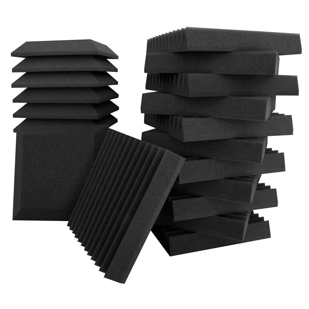 Ultimate Acoustic Studio Bundle 2 - With 12 Wall Panel Wedges And Bevels 12x12x2""