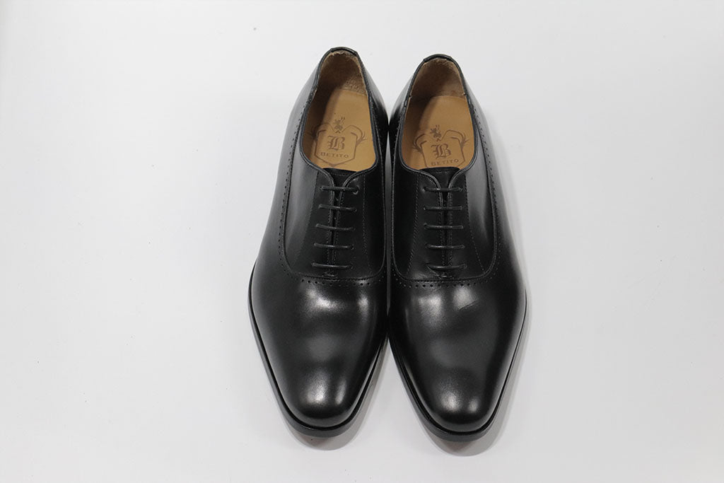 BLACK LEATHER OXFORD LACE UP WITH PLAIN TOE