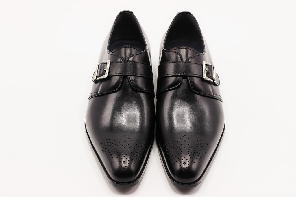 BLACK LEATHER SINGLE MONK STRAP WITH MEDALLION TOE